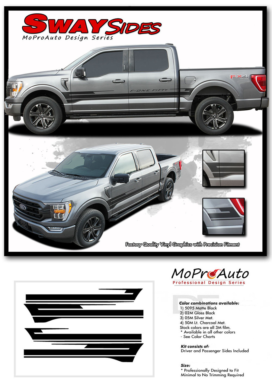 2021 Ford F-150 Side Body Decals Mid Panel Stripes Vinyl Graphics Kit and Decals Kit - MoProAuto Pro Design Series