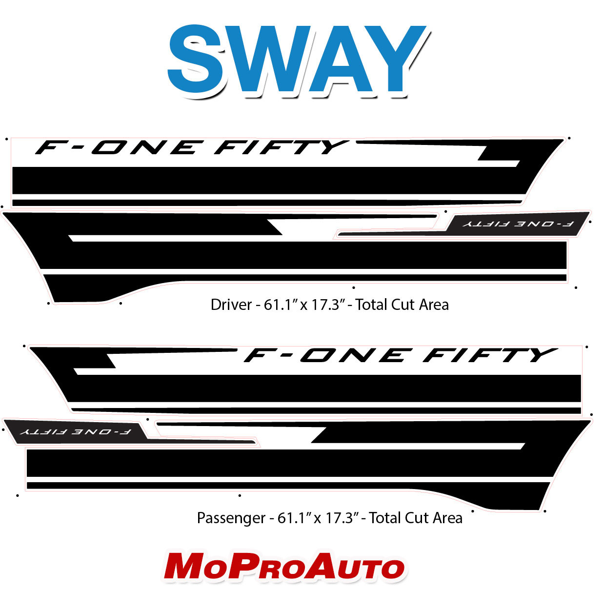 2021 Ford F-150 Side Body Decals Mid Panel Stripes Vinyl Graphics Kit