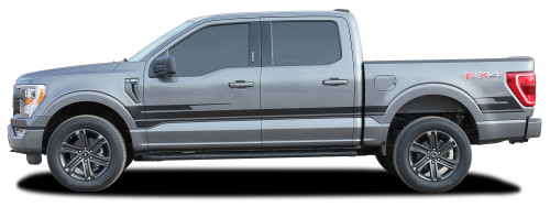 F-150 SWAY XL : 2021 Ford F-150 Side Body Decals Mid Panel Stripes Vinyl Graphics Kit (M-PDS-7475)