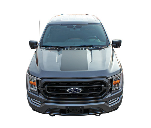 F-150 SWAY HOOD : 2021 Ford F-150 Hood Decal Center Vinyl Graphic with Optional Hood Spike Stripes (M-PDS-7473)