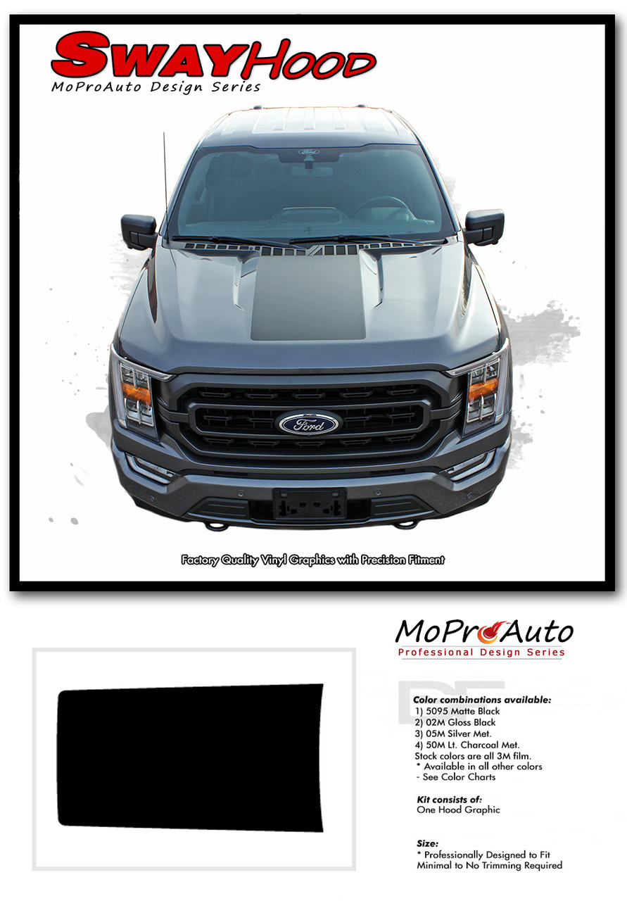 2021 Ford F-150 Hood Decal Center Vinyl Graphic with Optional Hood Spike Stripes