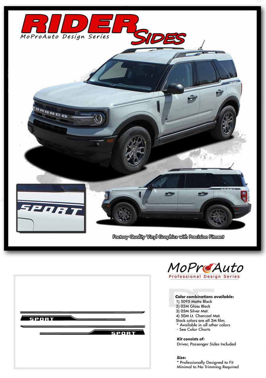 2021 2022 Ford Bronco RIDER Vinyl Graphics and Decals Kit - MoProAuto Pro Design Series