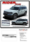 RIDER : Ford Bronco Side Body Door Stripes Vinyl Graphics Decals Kit for 2021 2022 2023 - Details
