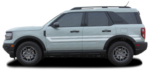 REVIVE : Ford Bronco Retro Side Body Door Stripes Vinyl Graphics Decals Kit for 2021 2022 2023 (M-PDS-7624)