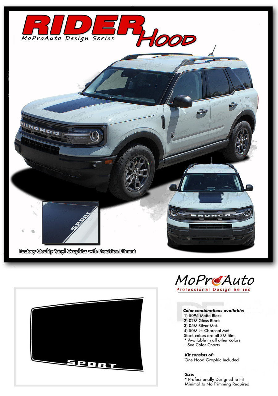 2021 2022 Ford Bronco RIDER HOOD Vinyl Graphics and Decals Kit - MoProAuto Pro Design Series