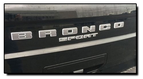 BRONCO LETTERS : Ford Bronco Sport Front Grill and Rear Gate Name Text Decals Stripes Vinyl Graphics for 2021 2022 (M-PDS-7704)