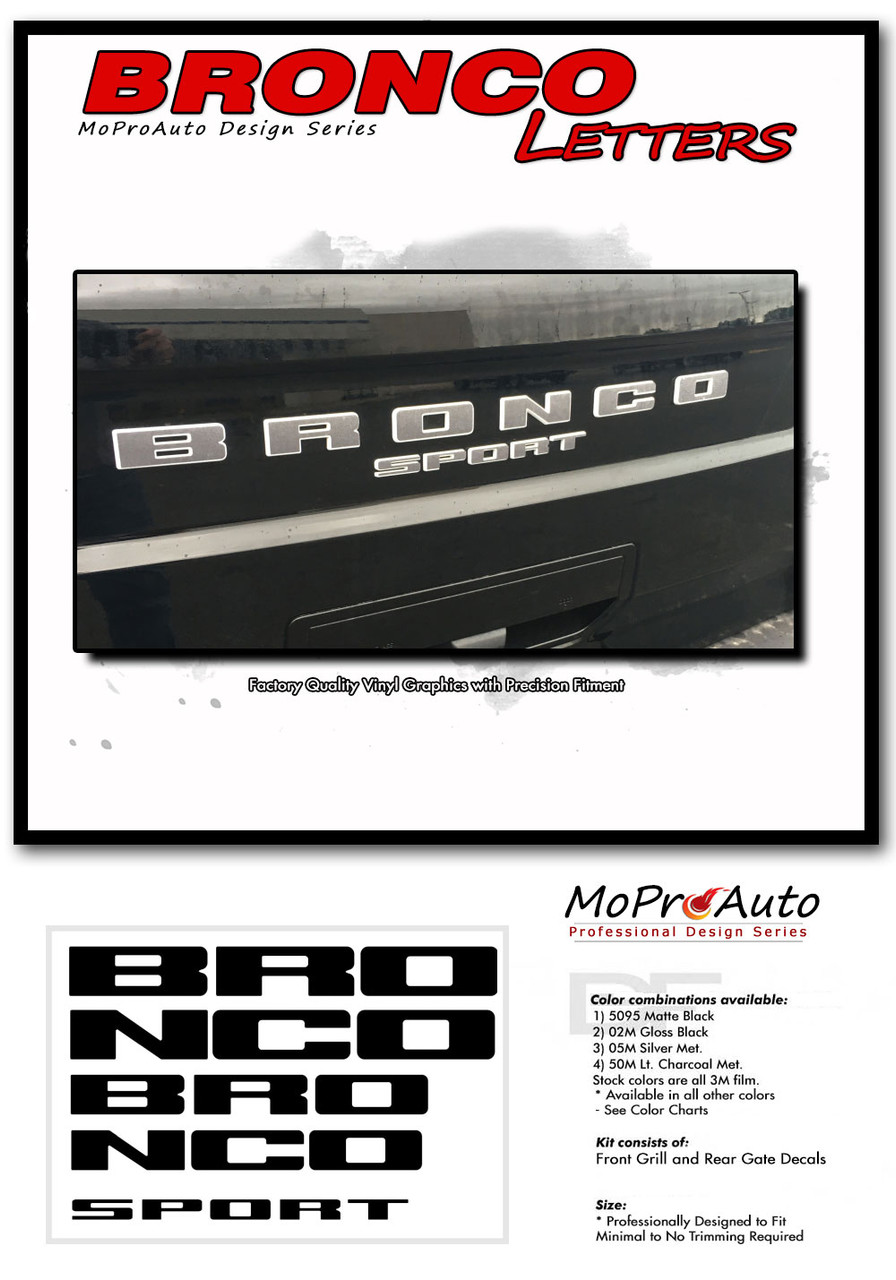 2021 2022 Ford Bronco LETTERS Vinyl Graphics and Decals Kit - MoProAuto Pro Design Series
