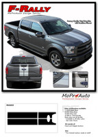 REPLACEMENT SECTIONS FOR F-150 F-RALLY : Ford F-150 Split Center Racing Stripes Vinyl Graphics Decals Kit 2015-2020