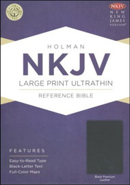 NKJV Large-Print Ultrathin Reference Bible--premium genuine leather, Burgundy Bonded Leather