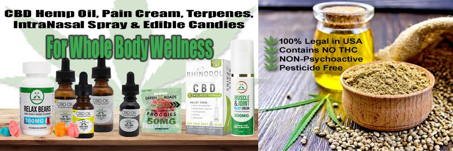 CBD Hemp Oil, CBD Pain Cream, Terpenes, CBD Intranasal Spray and Edible Candies