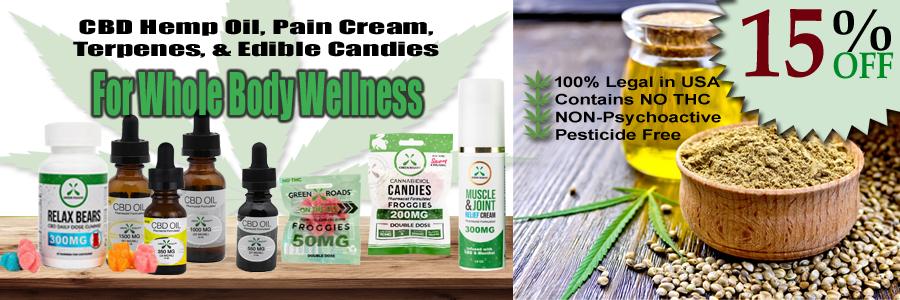 CBD Oils, Terpenes, Pain Creams, CBD Gummy Bears and More...