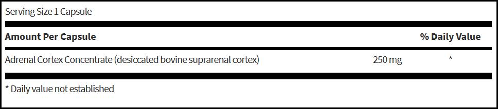 Klaire Labs Adrenal Cortex (250 mg, 120 Caps)