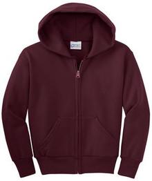 Port & Company® - Youth Core Fleece Full-Zip Hooded Sweatshirt w/Embroidery Logo - Trinity
