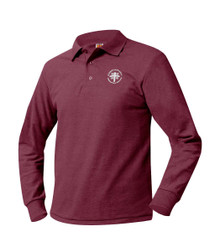 Pique Long Sleeve Polo Shirt with Logo - Blessed Sacrament