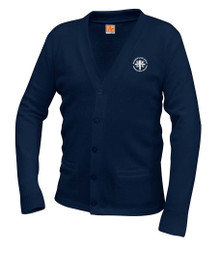 V-Neck Navy Cardigan Sweater with Logo - Blessed Sacrament
