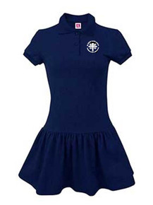 Girls Navy Polo Dress with Logo - Blessed Sacrament