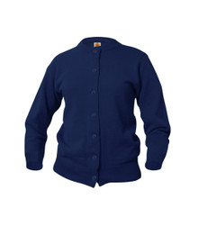 Girls Classic Navy Crew Neck Cardigan