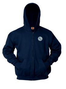 Navy Full Zip Hooded Fleece Sweatshirt - ICCS
