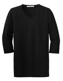 Port Authority® Ladies Silk Touch™ Maternity 3/4-Sleeve V-Neck Shirt - BASIS