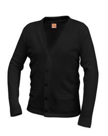 V-Neck Cardigan Sweater Black w/MIT Logo