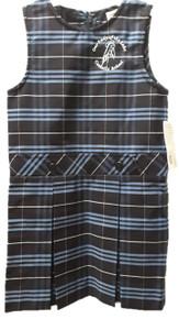 Girls Plaid Box Pleat Jumper w/Embroidery Logo - OLOTL