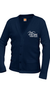 V-Neck Cardigan Sweater Navy w/Optional Hope Logo