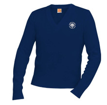 V-Neck Navy Pullover Sweater with Logo - Blessed Sacrament