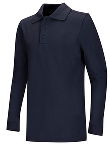 Pique Unisex Long Sleeve Polo Dark Navy