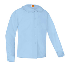 Broadcloth Long Sleeve Peter Pan Blouse Light Blue