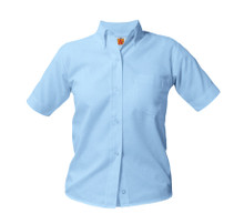 Female Short Sleeve Oxford Light Blue