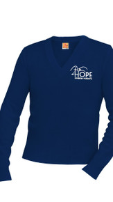 V-Neck Pullover Navy Sweater w/Optional Hope Logo