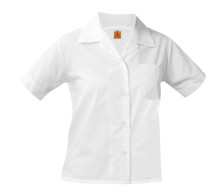 5-12th Grade Girls- Pointed Collar White Short Sleeve Broadcloth Oxford