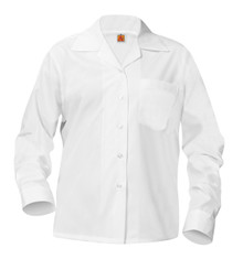 5-12th Grade Girls - Pointed Collar White Long Sleeve Broadcloth Oxford