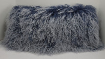 Mongolian Lamb Pillow Indigo blue Sheepskin Fur Pillow cushion New made in  USA