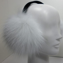 Real White Fox Fur  Earmuffs Brightened New Made in the USA