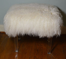 Real Natural White Mongolian Lamb Fur Stool Acrylic legs Tibet Bench Ottoman USA