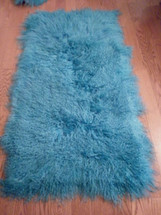Mongolian Tibet  Lamb  Fur Turquoise  Rug  Plate  Throw  genuine Wool USA made