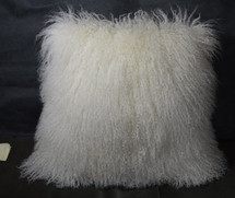 "Mongolian lamb Natural White 18 ""  Fur Pillow made in USA Tibet cushion"