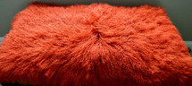 Mongolian Lamb Fur Tangerine Orange  Rug  Plate Throw New Real Tibet genuine
