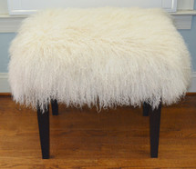 Mongolian Lamb Wool Bench Stool Ottoman Tibet Lamb Fur Footstool with wood legs