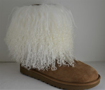 Real Natural White Mongolian lamb fur detachable  boot cuff