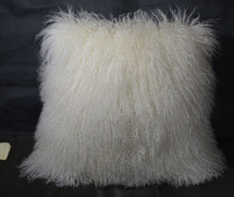 Mongolian lamb  fur Pillow Natural white 22 x 22 Fur  made in USA Tibet cushion