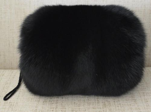 Real Black fox fur hand muff