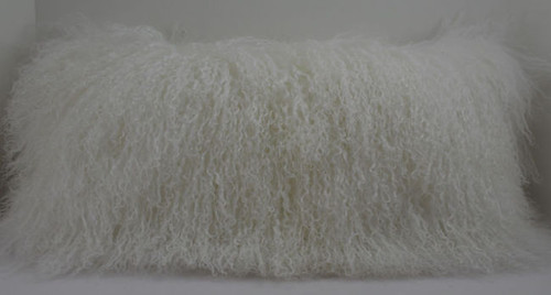 Curly Mongolian  Lamb Fur Pillow made in USA Real Tibet cushion