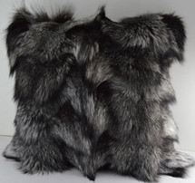 Real Genuine Silver Fox Sections Fur Pillow 16 x 16 New made in USA cushion