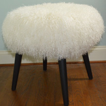 Mongolian Lamb Stool Mid Century wood legs New USA made Tibet Lamb Fur Sheepskin