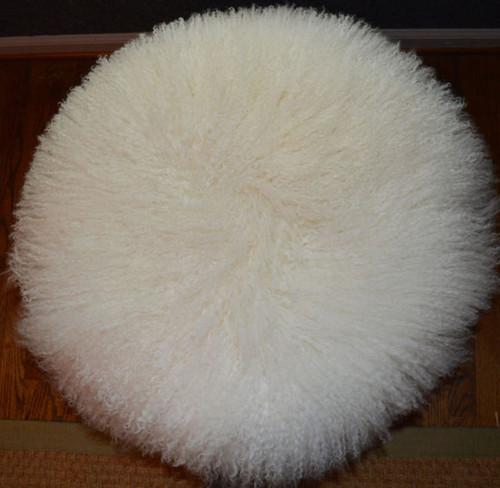 Mongolian Lamb Stool Mid Century wood legs New USA made Tibet Lamb Fur Sheepskin Wool