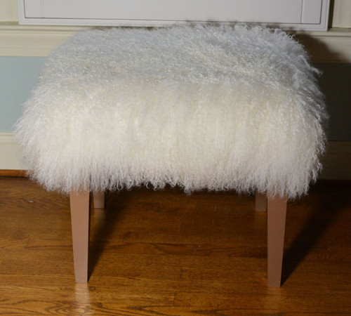 Real Mongolian Lamb Fur Bench Stool Ottoman Tibet Lamb  Wool Footstool gold wood legs