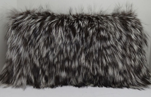 Fox Fur Pillow made from Silver fox sections New  USA made insert included