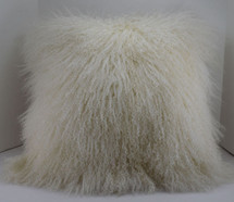 Mongolian lamb  fur Natural white 24 x 24 Fur Pillow made in USA Tibet cushion